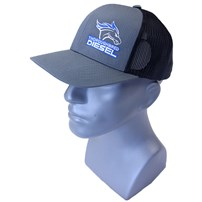 Thoroughbred Diesel Gray Bill, Gray Front, Black Mesh Snap Back, Blue/White Logo Hat