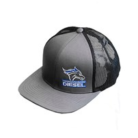 Thoroughbred Diesel Gray Bill, Gray Front, Black Mesh Snap Back, Blue/White Logo Hat