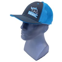 Thoroughbred Diesel Gray Bill, Gray Front, Neon Blue Mesh Flex Fit, Neon Blue/White Logo Hat