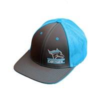Thoroughbred Diesel Gray Bill, Gray Front, Neon Blue Mesh Flex Fit, Neon Blue/White Logo Hat
