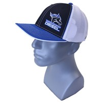 Thoroughbred Diesel Blue Bill, Black Front, White Mesh Flex Fit, Blue/White Logo Hat
