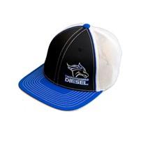 Thoroughbred Diesel Blue Bill, Black Front, White Mesh Flex Fit, Blue/White Logo Hat