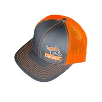 Thoroughbred Diesel Gray Bill, Gray Front, Neon Orange Mesh Snap Back Orange/White Logo Hat
