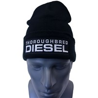 Thoroughbred Diesel Black Cuffed Beanie Black Patch White Thoroughbred Diesel Text FlexFit