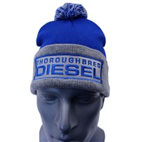 Thoroughbred Diesel Royal/Heather Grey with Pom. Silver Patch with Blue Thoroughbred Diesel Text