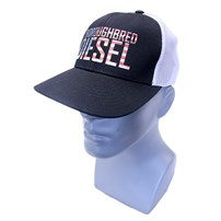 Thoroughbred Diesel Hat - Black Bill, Black Front, White Mesh Snap Back, American Flag Thoroughbred Diesel Logo