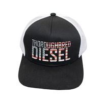 Thoroughbred Diesel Hat - Black Bill, Black Front, White Mesh Snap Back, American Flag Thoroughbred Diesel Logo