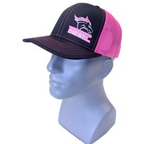 Thoroughbred Diesel Black Bill, Black Front, Neon Pink Mesh, Neon Pink White Logo, Snap Back Hat