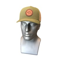 Thoroughbred Snapback Hat - Army Olive Bill, Army Olive Front Panel, Tan Mesh, Leather Patch