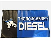 Thoroughbred Diesel Black and Blue Vinyl Banner - 3ft x 5ft w/ Grommets