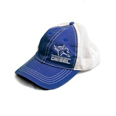 Thoroughbred Diesel Vintage Blue Bill, Blue Front, White Mesh Snap Back, White Logo Hat
