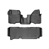 WeatherTech DigitalFit FloorLiner Set - 2011-2012 Ford Super Duty (Extended Cab - w/o 4x4 Floor Shifter w/o Raised Dead Pedal)(Over-The-Hump) - Black